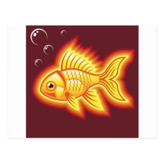 Pescados del oro del vector que brillan tarjeta postal