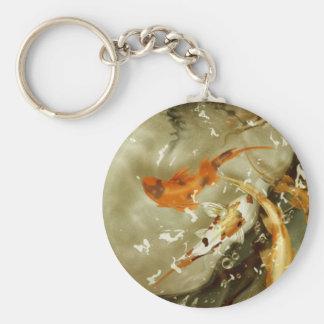 Pescados del oro llavero redondo tipo pin