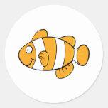Pescados del payaso etiqueta redonda
