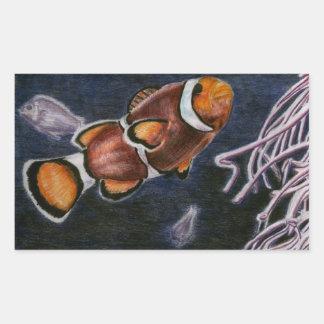 Pescados del payaso pegatina rectangular