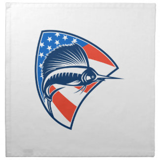 Pescados del pez volador que saltan el escudo de l servilletas de papel