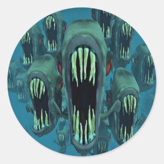 Pescados del profundo pegatina redonda