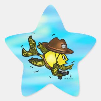 PESCADOS del SHERIFF - dibujo animado vivaracho Pegatina En Forma De Estrella