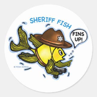 PESCADOS del SHERIFF - dibujo animado vivaracho Pegatina Redonda