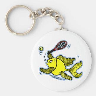 Pescados del tenis, pescados que juegan a tenis llavero redondo tipo pin