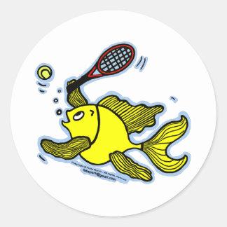 Pescados del tenis pescados que juegan a tenis pegatina