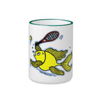 Pescados del tenis, pescados que juegan a tenis taza de café