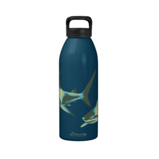 pescados del tiburón, animales salvajes botella de agua reutilizable
