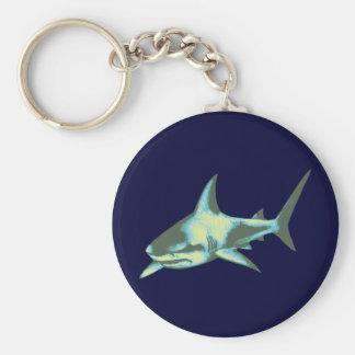 pescados del tiburón, animales salvajes llavero redondo tipo pin