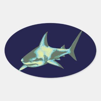 pescados del tiburón, animales salvajes pegatina ovalada