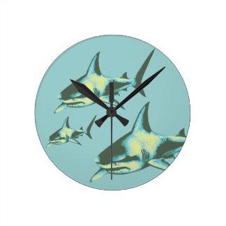 pescados del tiburón, animales salvajes reloj redondo mediano