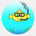 Pescados del tubo respirador pegatina redonda
