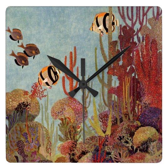 Pescados del vintage en el océano, Angelfish Reloj Cuadrado