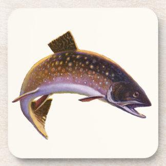 Pescados del vintage, trucha de la pesca deportiva posavaso