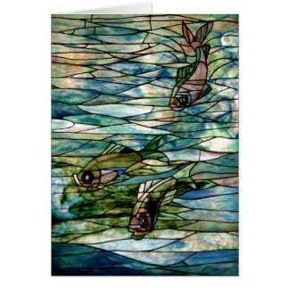 Pescados del vitral por la tarjeta de felicitación