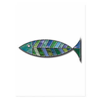Pescados del vitral tarjeta postal