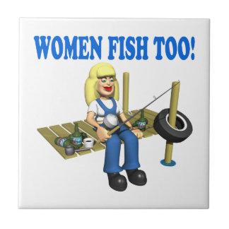 Pescados demasiado 2 de las mujeres teja cerámica
