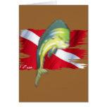 Pescados descolorados en bandera de la zambullida tarjetón