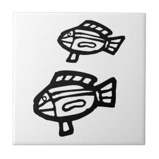 Pescados, dibujo australiano (aborigen) azulejo cuadrado pequeño