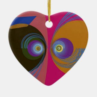 Pescados divertidos adorno navideño de cerámica en forma de corazón