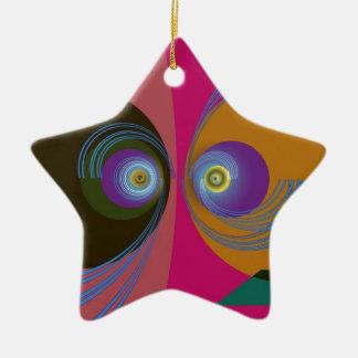Pescados divertidos adorno navideño de cerámica en forma de estrella