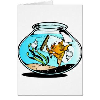 Pescados divertidos de la limpieza tarjeta de felicitación