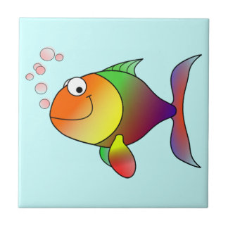 Pescados divertidos lindos - coloridos azulejo cuadrado pequeño