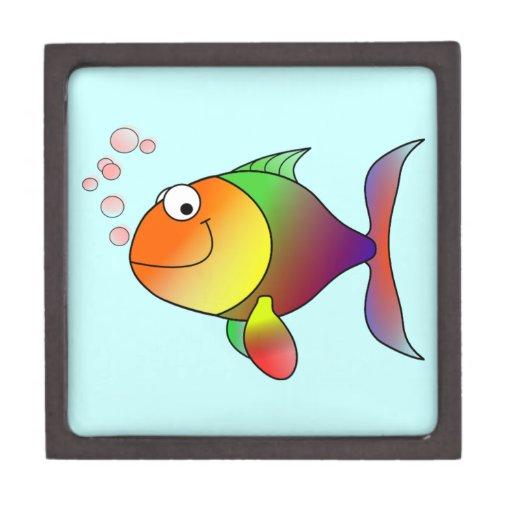 Pescados divertidos lindos - coloridos caja de recuerdo de calidad