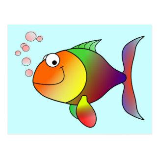 Pescados divertidos lindos - coloridos postales