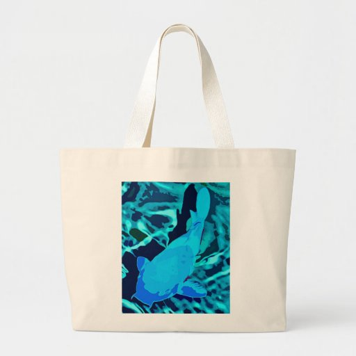 Pescados en acuario, azules bolsa tela grande