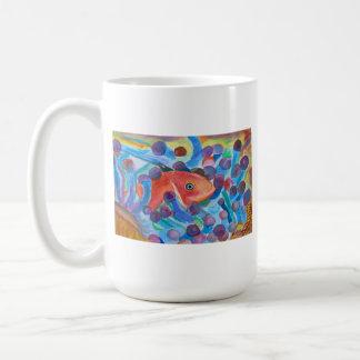 Pescados en bella arte del mar de la acuarela del  tazas de café