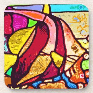 Pescados en el filón, vitral (ct) posavasos