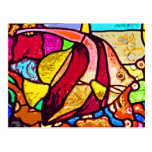 Pescados en el filón, vitral (ct) postal