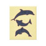 Pescados en el galón del zigzag - amarillo lona estirada galerias