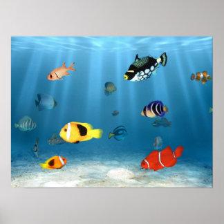 Pescados en el océano impresiones