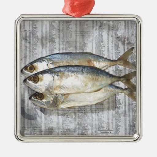 Pescados en el periódico financiero, visión adorno cuadrado plateado