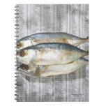 Pescados en el periódico financiero, visión elevad libro de apuntes con espiral