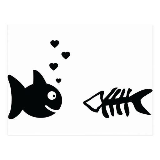 pescados en símbolo del amor tarjetas postales