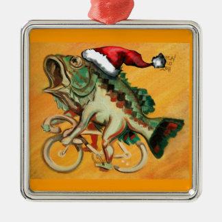Pescados en una bicicleta para Navidad Adorno Navideño Cuadrado De Metal
