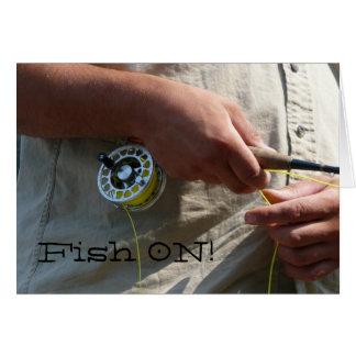 ¡Pescados encendido! Tarjeta del pescador de la mo