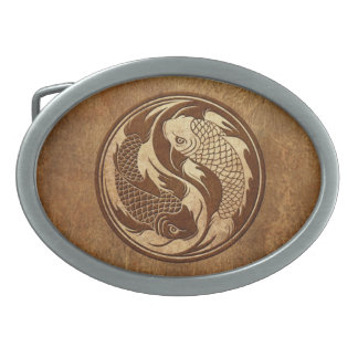 Pescados envejecidos y llevados de Yin Yang Koi Hebillas De Cinturon Ovales