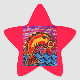 Pescados estupendos pegatina en forma de estrella