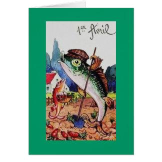 Pescados felices del día de los inocentes del vint tarjeta pequeña