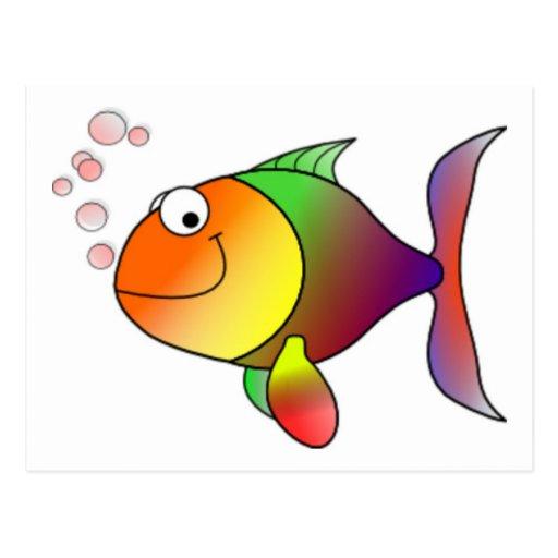 Pescados felices del dibujo animado postales