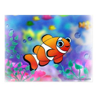 Pescados felices del payaso postales
