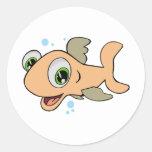 Pescados felices etiqueta redonda