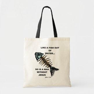 Pescados fuera del agua bolsa tela barata