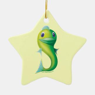 Pescados grandes adorno navideño de cerámica en forma de estrella