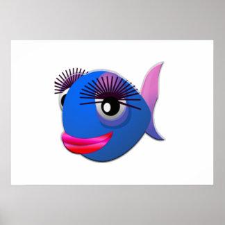 Pescados grandes del dibujo animado de las pestaña póster