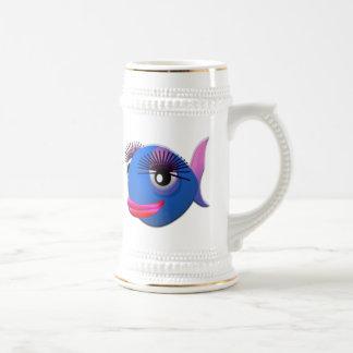 Pescados grandes del dibujo animado de las pestaña taza de café